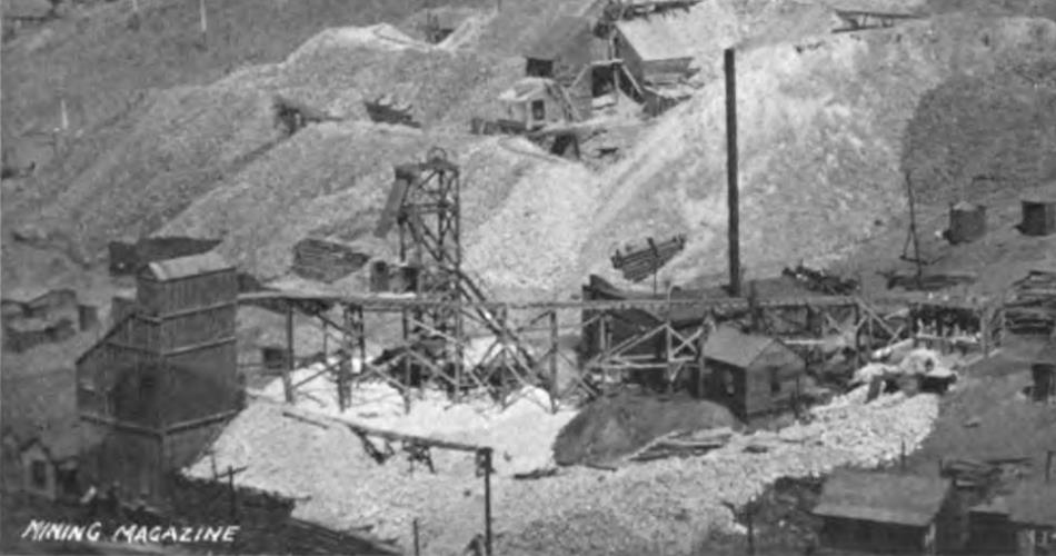 While not the greatest quality it is still a nice show of the mine operation often known as the Peggy Mine in upper Squaw Gulch, or Anaconda Gulch as I've also seen it called. This part of Gold Hill seems rather cramped for space, and they sure took any advantages of the area as they could, and they sure built a large ore-house, seen on the lower left side of this view.