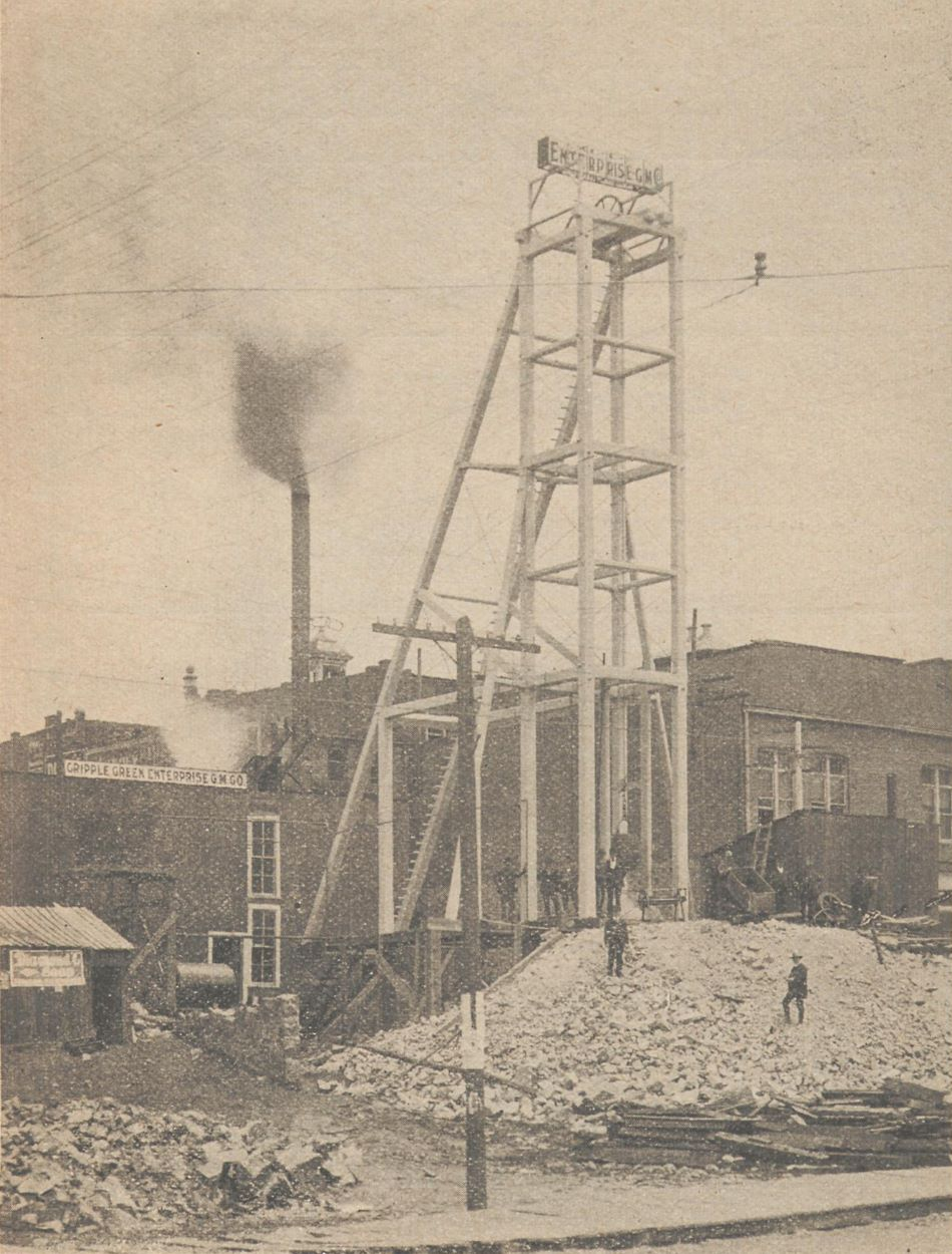View of the head frame – named Gallows frame – of the Cripple Creek City Mine, or the Cripple Creek Enterprise Gold Mining Company's mine in the town of Cripple Creek.
