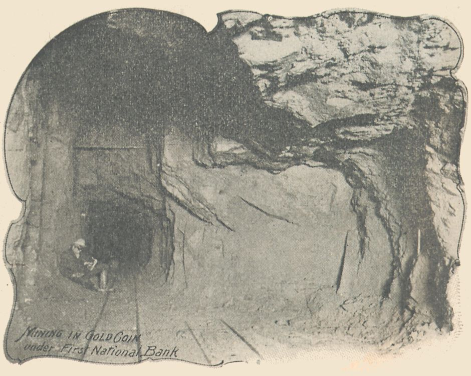 This underground view from the Gold Coin Mine is said to be under the First National Bank in Victor, Colorado.