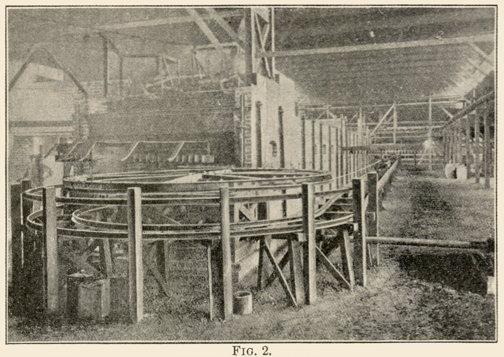 This sadly quite bad view shows an Interior View from the Arequa Mill. Appearing in an August 1899 issue this must been photographed before that time and being said to have been erected around 1896/1897 the timespan is not that large. The Article said nothing directly about this view, but I get the feel that this view is showing one of the ends of the so-called Rabble Machine. The wheel looks like the one drawn in Figure 4 in the article this is from, about the Cyanide Mill part of the Arequa Mill.