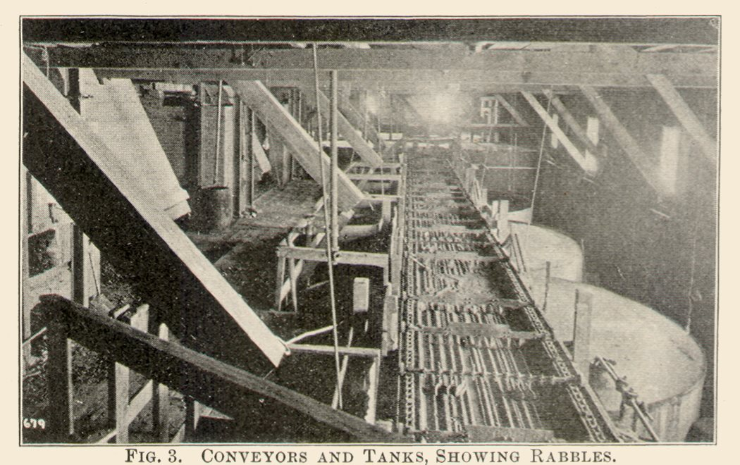 This image is most likely from the long room occupied by the Ropp roasting furnace, conveyors, and cyanide tanks. The tanks are seen to the right, with the so-called Rabble Machine seen partly to the left of the tanks. The rabble is a long, thick steel bar, to the lowest surface of which are attached plates or blades. This bar with teeth is attached to a triangle of iron, bound together by long, flat iron bars, which are curved up at the ends. The machine travels on a small truck fitting on to the rails down the long tramway, around the side and ends of the furnace, drawn by an endless revolving wire rope, connecting the rabbles with one another. So, the procession crawls along till a turntable is reached, opposite the far end of the furnace. The Furnace is seen partly on left side.