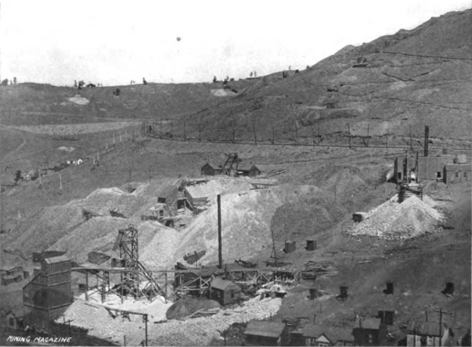 While not the greatest quality it is still a nice show of the mining operations in this part of the District, upper Squaw Gulch, or Anaconda Gulch as I've also seen it called. * In lower left front is a mine often known as the Peggy Mine, with lot of trestle work, large head frame and ore-house. Belonging in 1904/1905 to the Peggy G. M. Company. * Just above the Peggy is the mining operation of Colorado Boss No. 3 - I think – could be on the Mary McKinney claim, hard to tell. The source text to this image said this is the Sharp lease on the Colorado Boss of the Cripple Creek Consolidated, but claim maps are hard to decode as there is so much overlap. * All the way to the right-hand side of this view is the Morning Glory No. 4 mine operations. Belonging to the Work company. Behind the former mention mines is the roadbed of the Low Line electric, also used by Short Line steam trains to serve mines along the line. It curves alongside Gold Hill, and that leads us to the left-hand side of the view, the upper left third part where one see a large fill on the Low Line with part of the spur up the Index mine cutting into the hill – the mine itself is out of view to the left. There are several mines in this area as well, the top of the ridge hints of some, but the quality is too bad to say anything about them. Two dumps are seen between the ridge-line and the Low Line roadbed, the left most is the small operation of the Union Bell mine, while the more hidden part near middle of view top, I really do not know at this time of writing [11.01.2017].