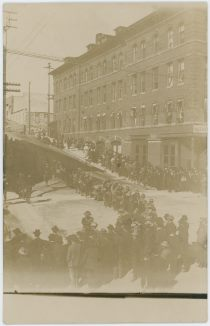 People Crowd in Streets at the National Hotel in Cripple Creek Regarding Western Federation of Miners Union trial