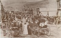 "CRIPPLE CREEK, COLORADO - Bennett Ave. at First St. July, 1893 ""Population 10,000."""