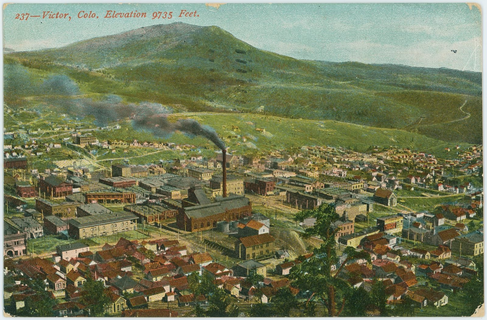 Another view of Victor from Squaw Mountain, with the Gold Coin mine nearly in center of view. Photo is from before April 1906 as I have seen a postcard with the date using this view.