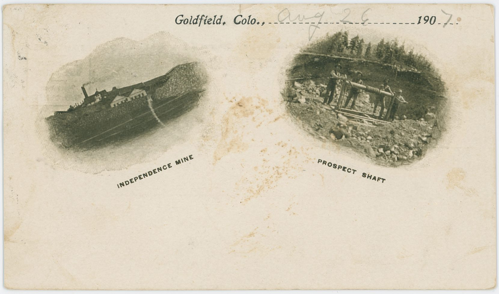 Quality wise is this not a good image card with scenes from the Cripple Creek District, but, it still is one among the many hundred scenes used for postcards with links to the District! The two views; the Independence Mine on the left side and an unknown Prospect Shaft on the right-hand side is really showing the span of the reason for the whole District. It could go from right to left – from hoping to hit the jackpot, to actually find it – or it could go the other way, from rich to poor.    Neither views are that good due to the nature of this printed card, but still I wanted to share it, and possible, one day I learn more about the view on the right-hand side… Till that might happen, I only share as a link the left view, the Independence Mine, as a cropped 600 dpi view on my weblink below.