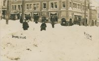Snow Scene in Front of Bank Block Victor at Corner of Victor Avenue & 4th Street, Probably Snow After Great Storm of December 4-6, 1913