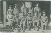 Group of 11 Unknown Workers/Miners Posing at Unknown Mine, Possible the Independence Mine?
