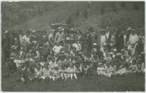 Posing Ladies; Some Men; Lots of Children; Automobile, Possible Elks Picnic at Clyde